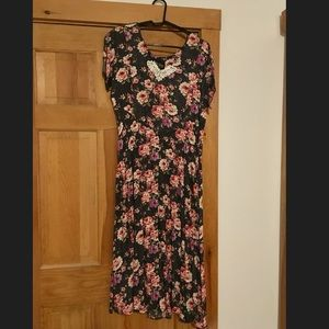Women's dress - black floral print, V neck